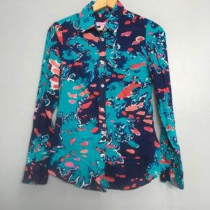 LILLY PULITZER | floral print button front shirt 2
